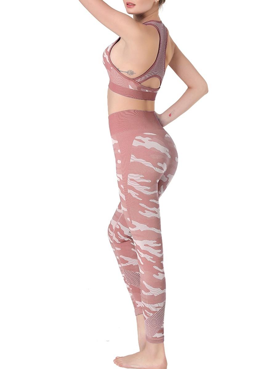 Modern Red Hollow Out Bra Full Length Leggings Good Elasticity