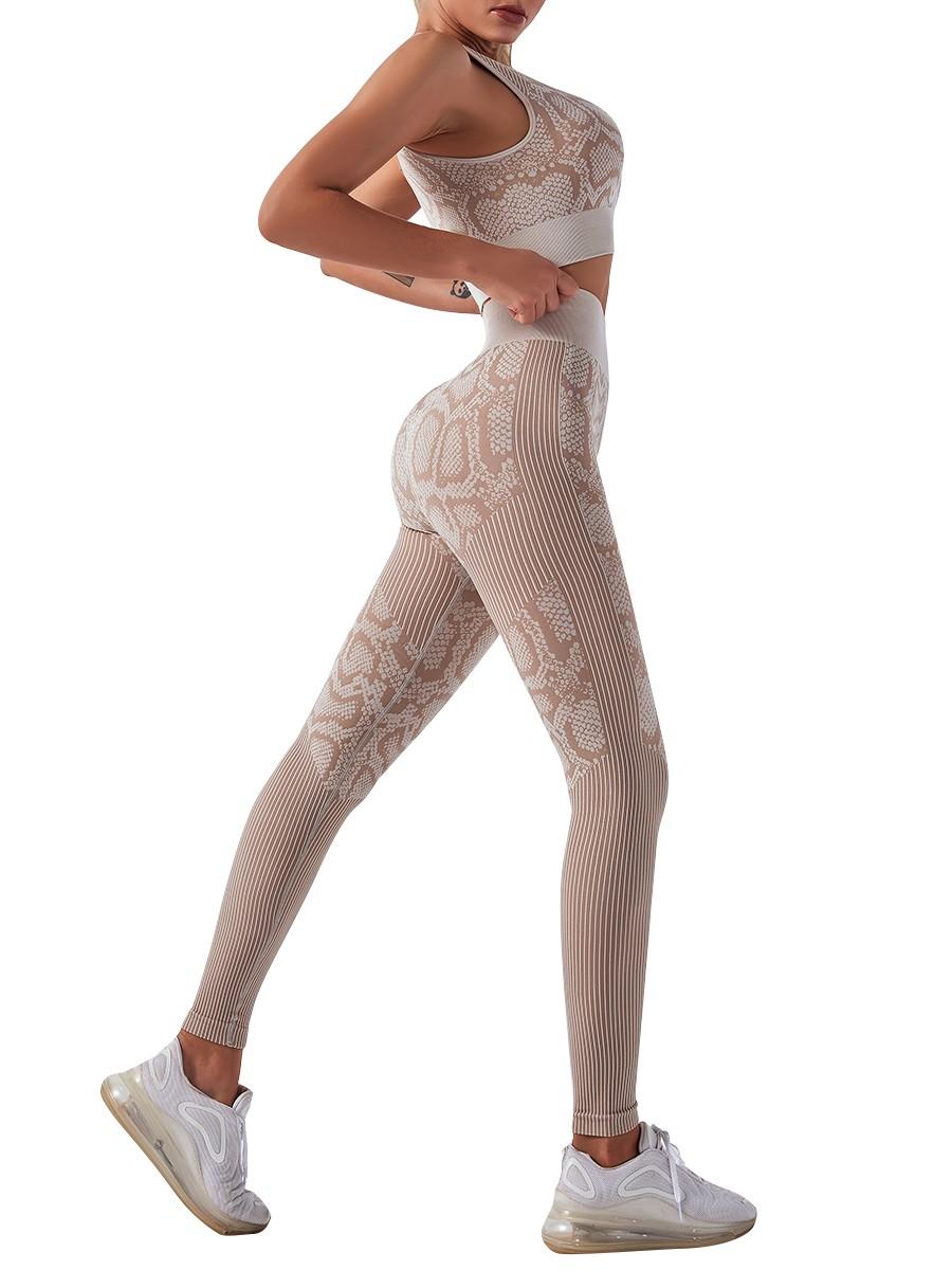 Khaki Seamless Snakeskin Yoga Suit High Waist Soft-Touch