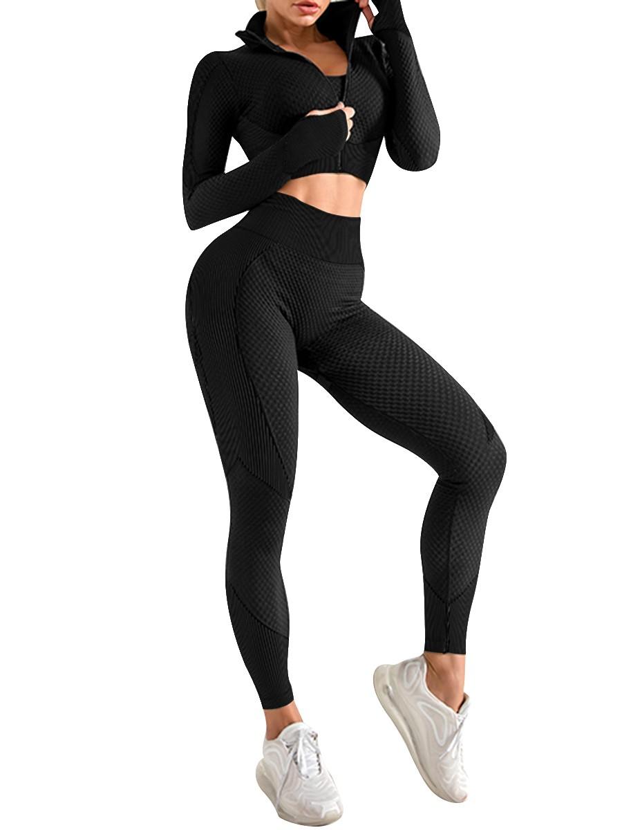 Black 3 Pcs Sports Suit Solid Color Ankle Length Breathable