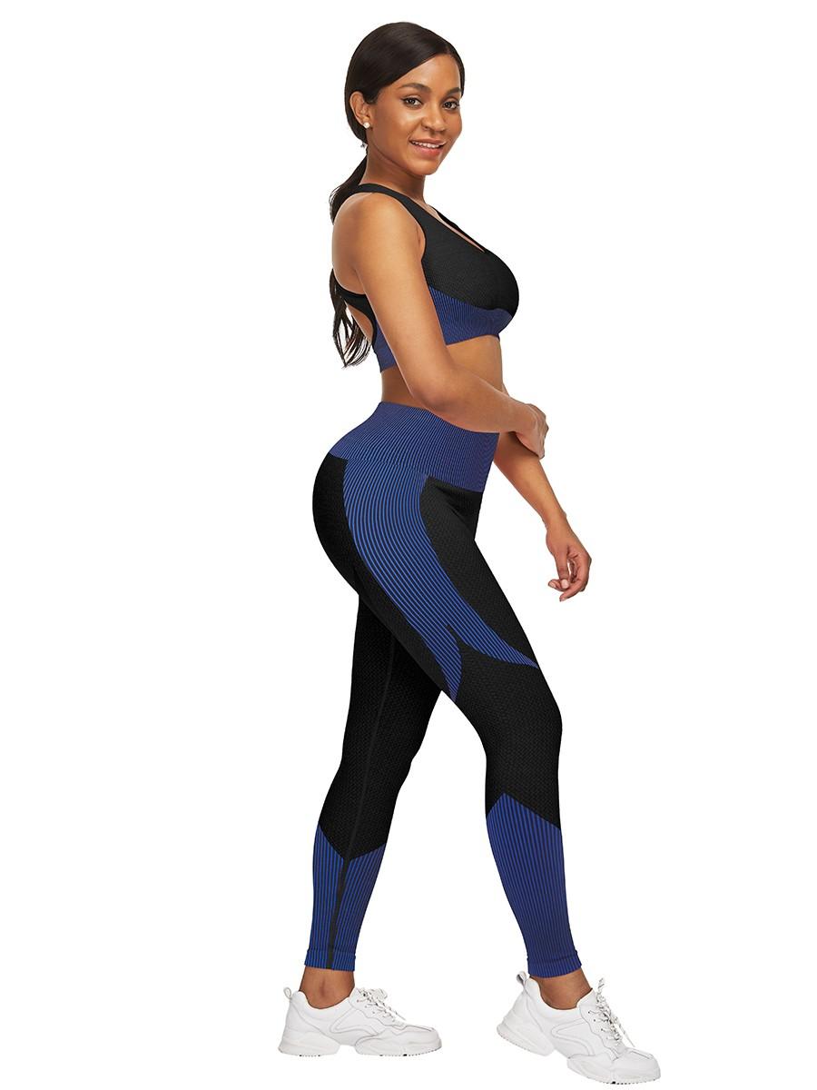 Magic Dark Blue Strap Crop Top High Waist Leggings Latest Fashion