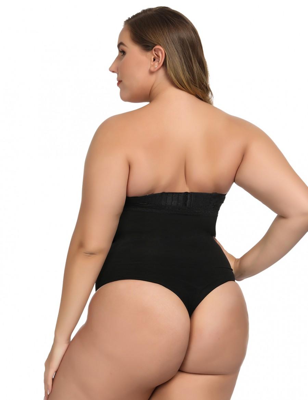 Haute Contour Black Lace Trim Thong Body Shapewear Delightful Garment