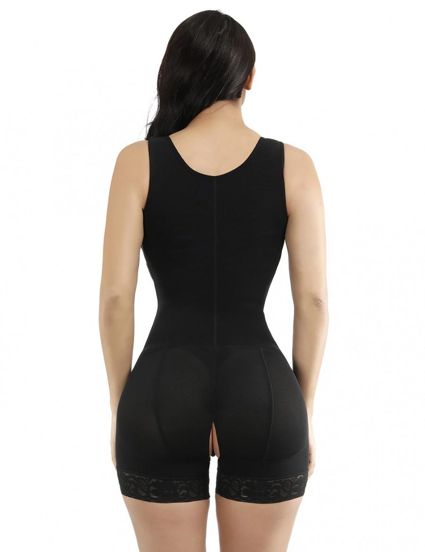 Black Lace Hooks U Neck Crotchless Big Size Full Body Shapewear