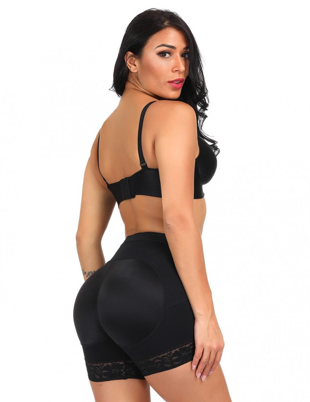 Tight Black Large Size Butt Lifting Panty Lace Hem Fat Burner
