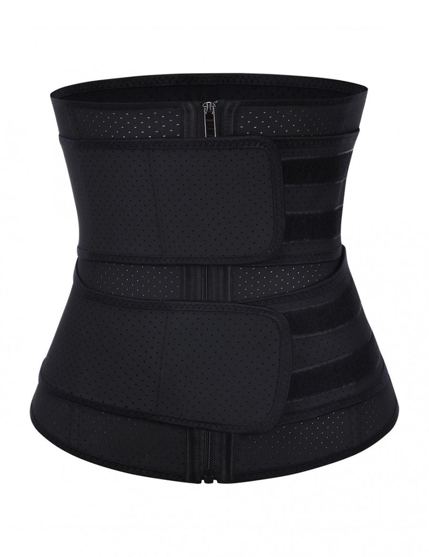 Best Selling 7 Steel Boned 2 Belts Black Waist Cincher Large Size Latex