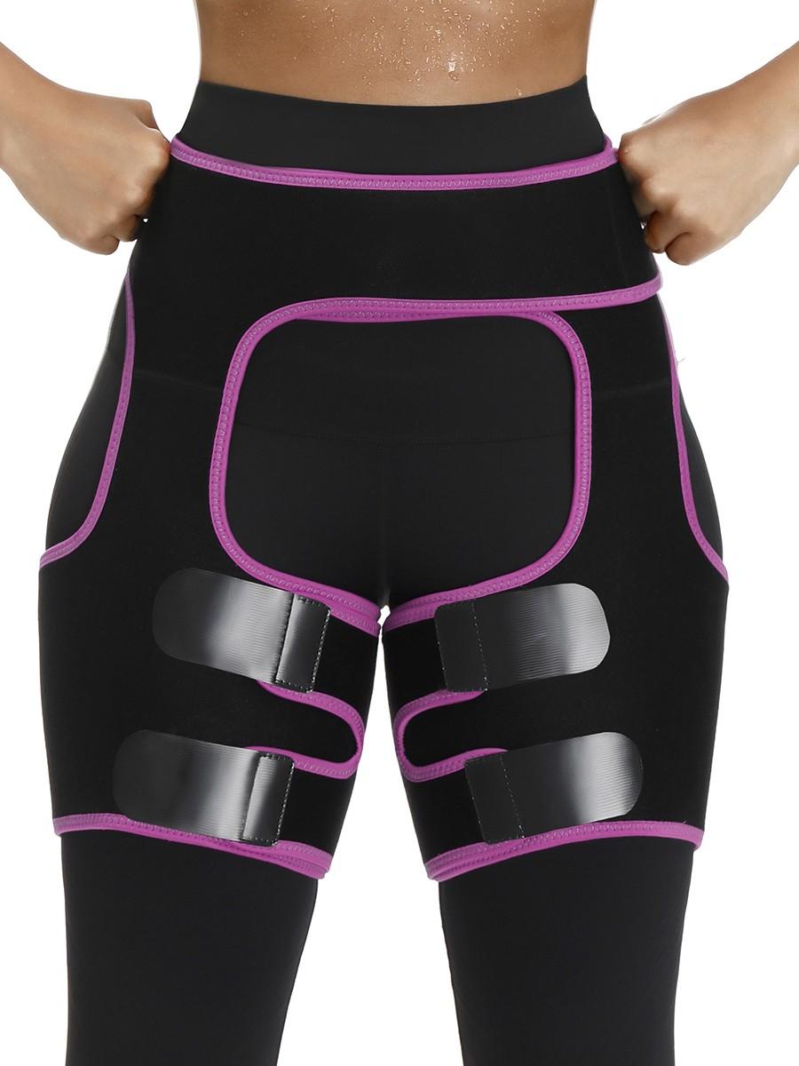 Stretch Rose Red Sticker Open Butt Neoprene Thigh Shaper Light Control
