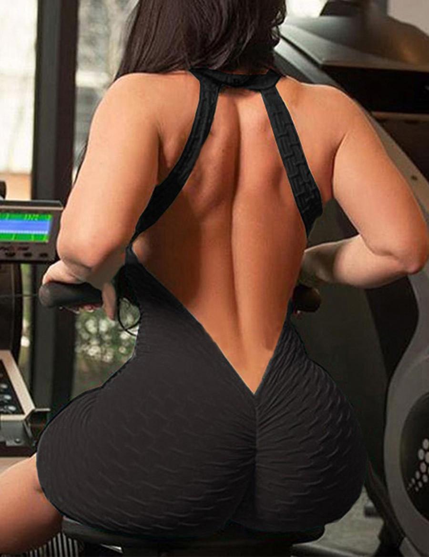 Seductive Deep V Neck Black Pure Color Jumpsuit Active