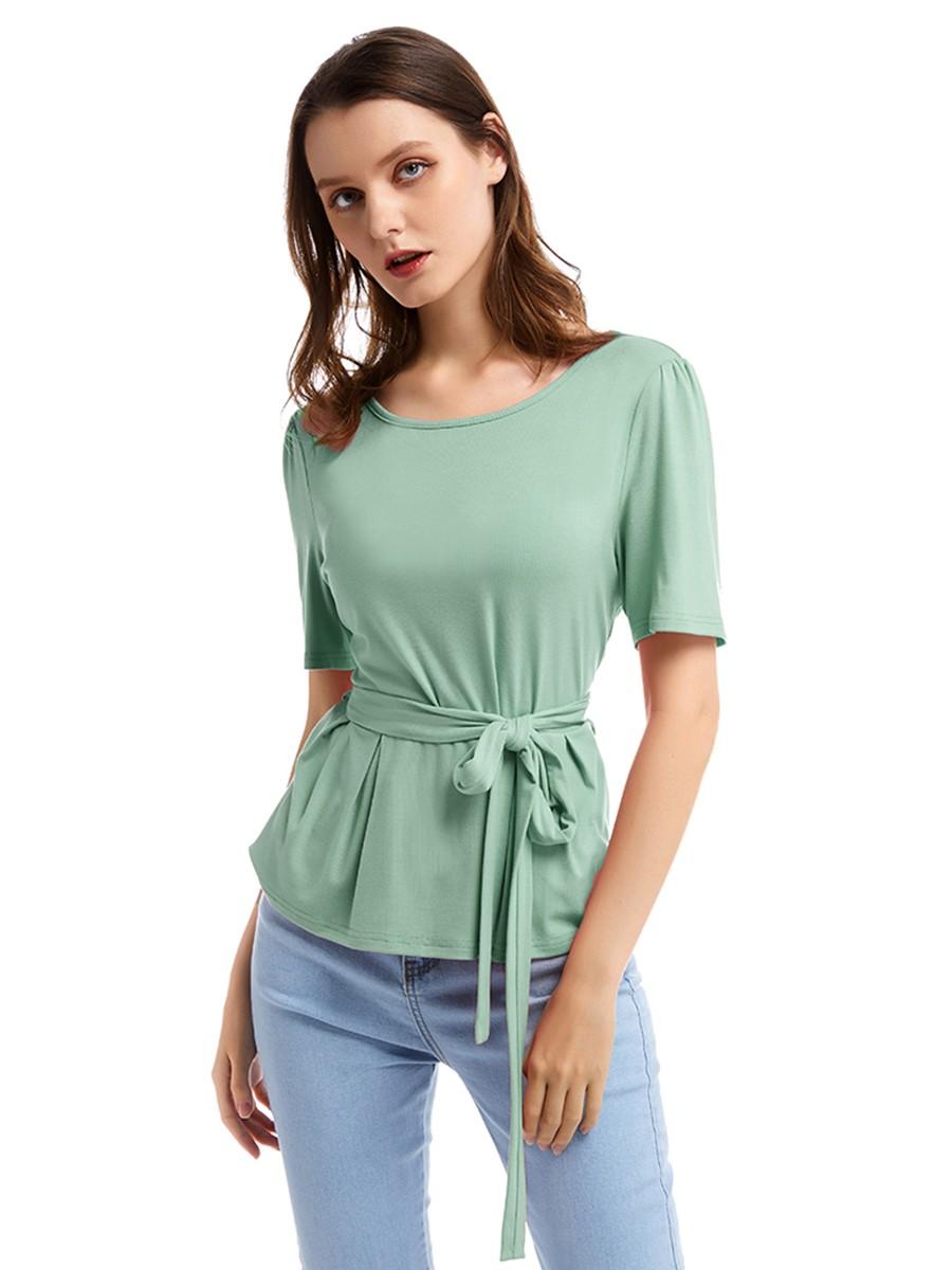 Slimming Green Ruffled Round Collar Top Waist Tie Comfort Fabric